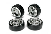 Team Magic E4D Drift Car Mounted Tire 5 Spoke Silver 4p