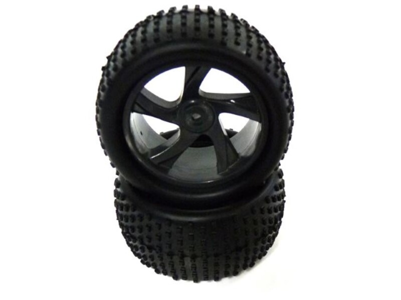 1:18 Tire and Black Rim for Truggy (23626B+28652) 2P фото 1