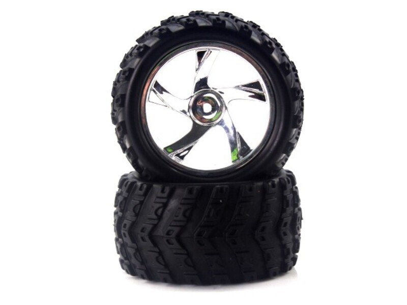 28663V 1:18 Tire And Chrome Rim For Monster Truck (23626v+28662) 2p фото 1