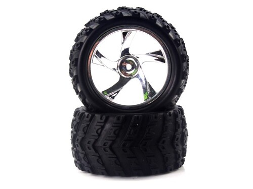 28663V 1:18 Tire And Chrome Rim For Monster Truck (23626v+28662) 2p