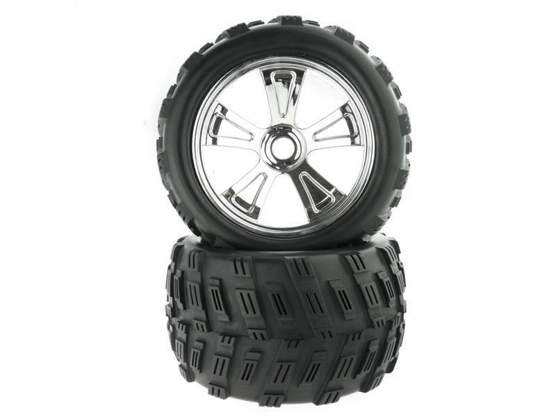 8E161 1:8 Chrome Rim & Tire Complete For Monster Truck 2P фото 1