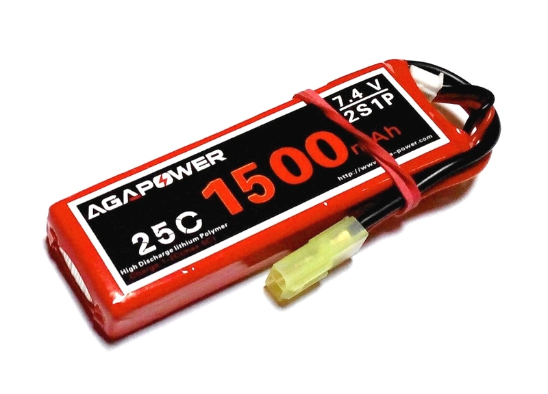 Аккумулятор AGA POWER Li-Pol 1500mAh 7.4V 2S 25C Softcase 16x35x92мм Mini Tamiya фото 1